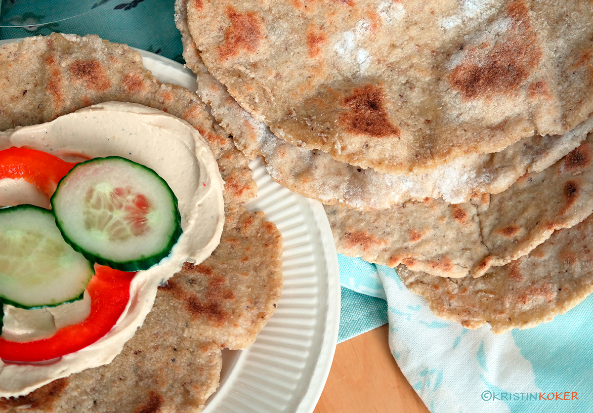 glutenfrie chapati wraps, myke flate brød.