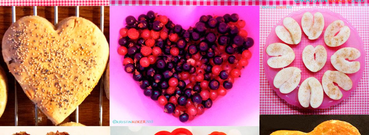 Collage av hjerteformat mat til valentinsdagen