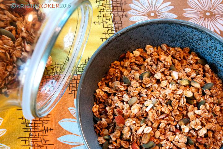 gresskargranola, krydret granola med gresskar, musli, müsli uten gluten