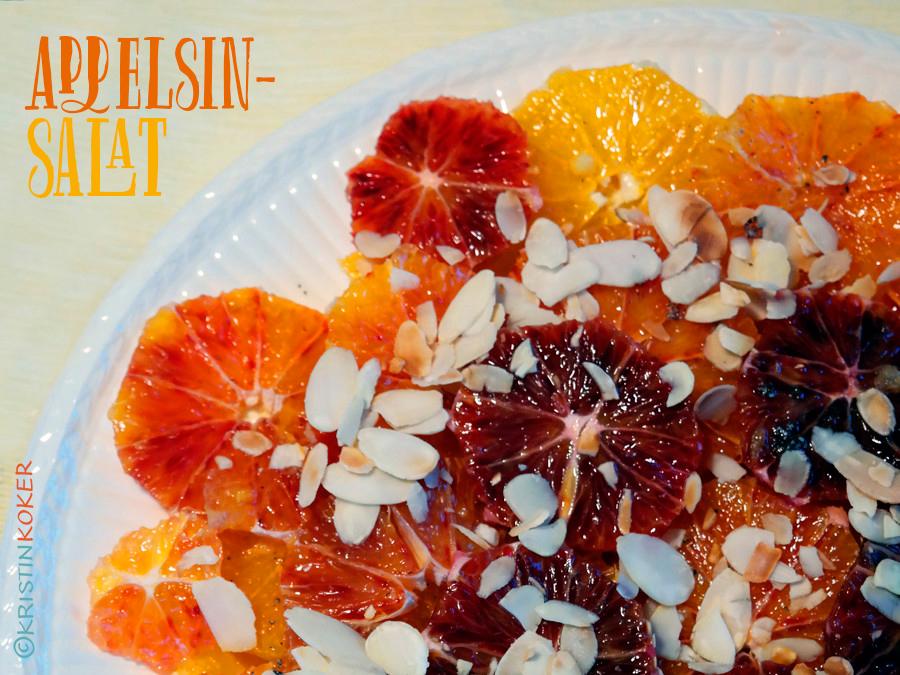 appelsinsalat med kardemomme, mandler og honning. Enkel vinterdessert.