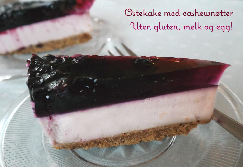 Ostekake med cashewnøtter, uten gluten, hvete, melk og soya. Cashewkrem brukes istedenfor kremost. Gelelokk med bær.