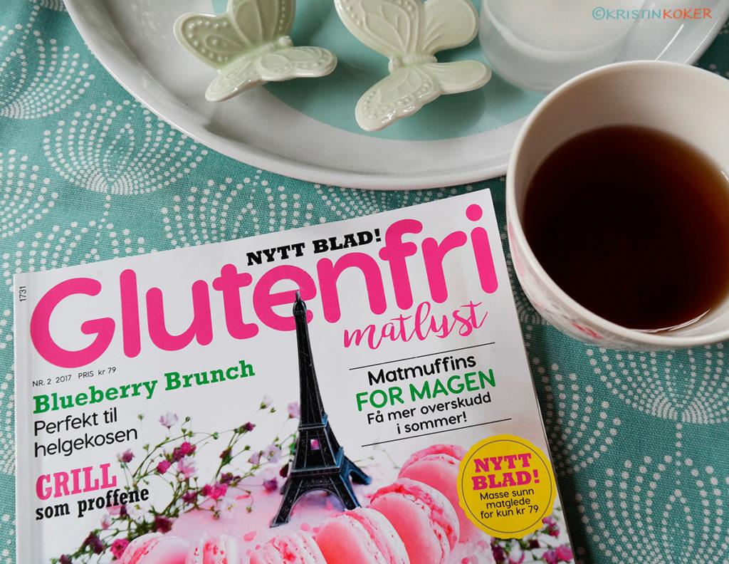 magasin glutenfri matlyst, min leseranmeldelse. magasin på stuebord, med tekopp.