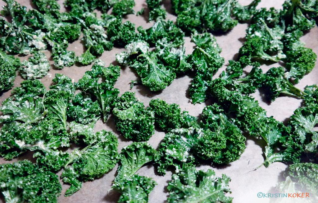 Grønnkål klar til steking. Grønnkålchips.