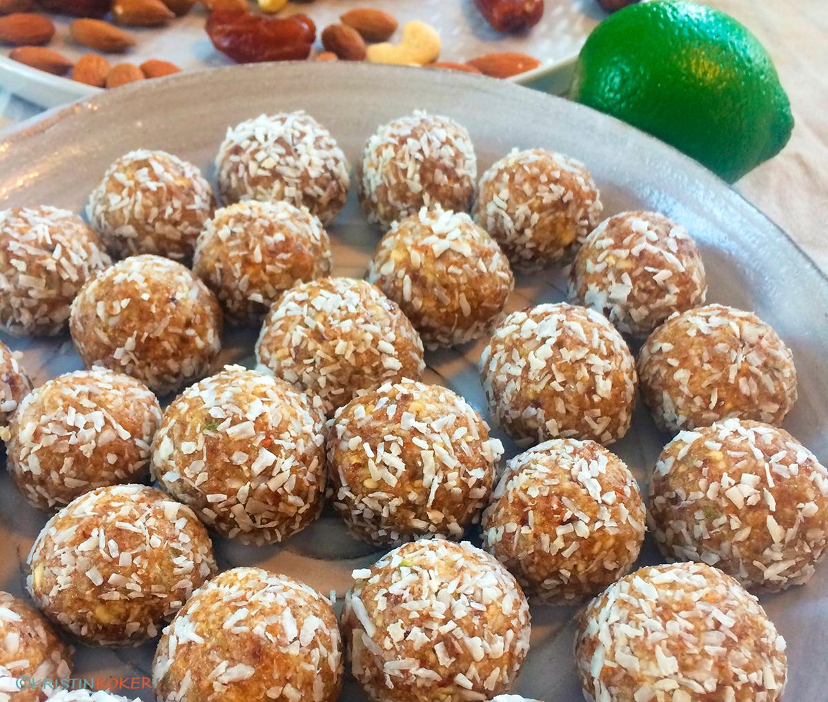 Bliss balls med kokos og lime