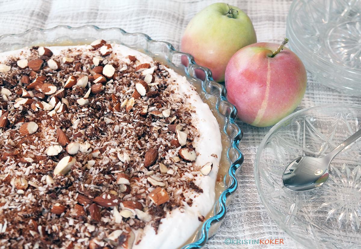 sunn epledessert uten sukker, gluten og melk