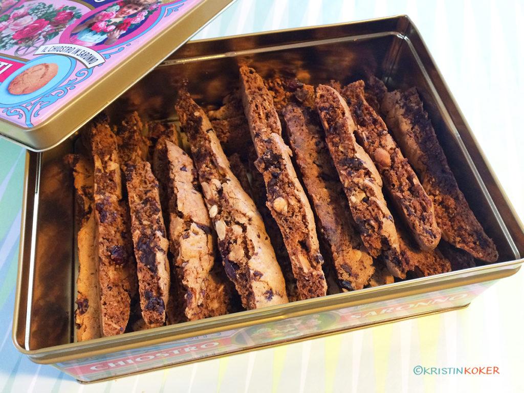 biscotti med mandler, sjokolade og appelsin