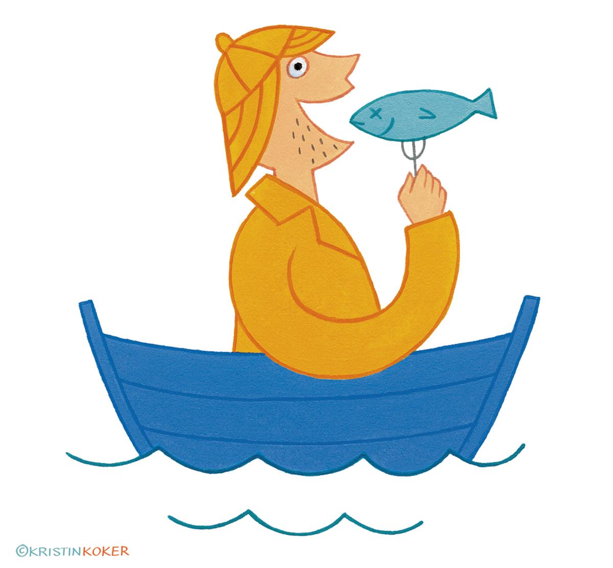 Frisk med fisk, illustrasjon av fisker i jolle med fisk på gafel, illustratør Kristin Granli