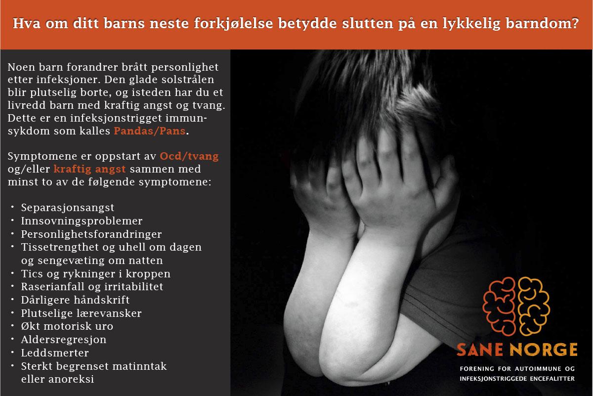 Infobilde om PANS / PANDAS fra Sane Norge.