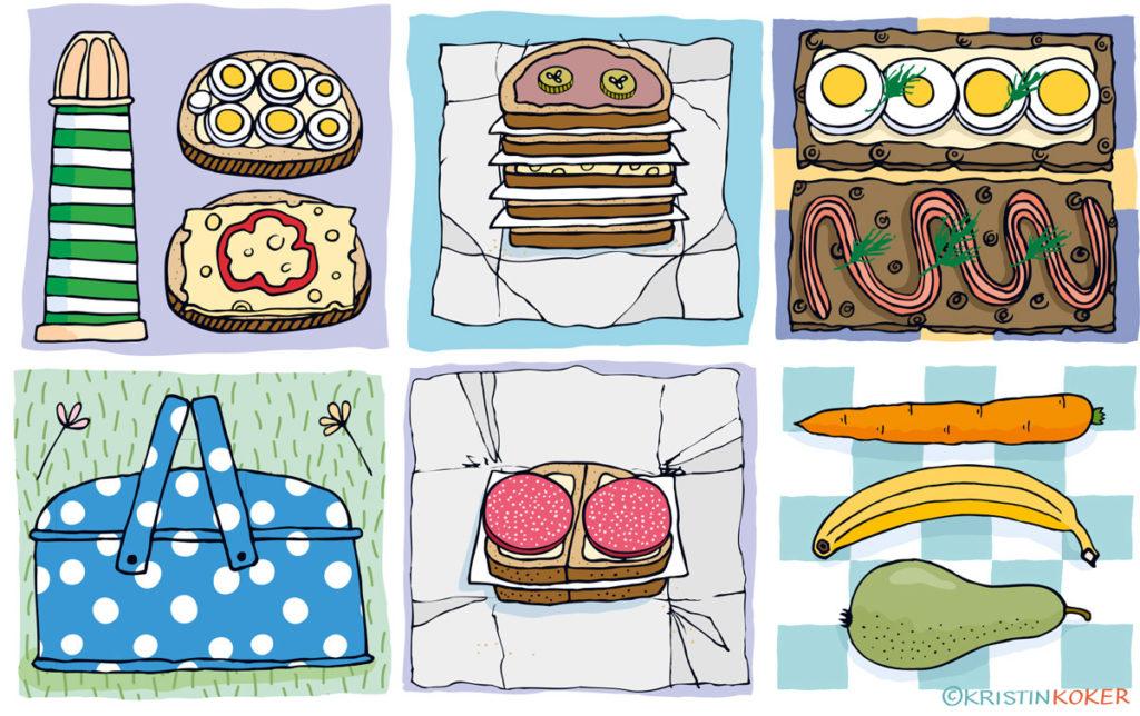 Illustrasjon: Kristin Granli, Piknik og matpakker